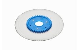 Standard serrated circular blade with a blue gear