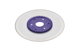 Standard serrated circular blade with a purple gear
