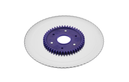 Serrated circular blade with electropolished surface and a purple gear