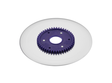 Ham- and sausage circular blade with non-sticking coating and purple gear