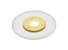 Standard serrated circular blade with a yellow gear