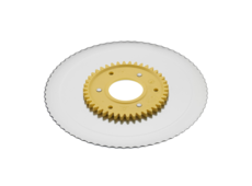 Serrated circular blade with electropolished surface and a yellow gear