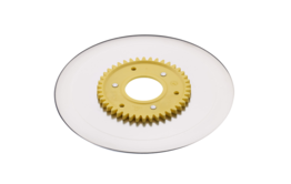 Ham- and sausage circular blade with electropolished surface and a yellow gear