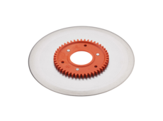 Standard ham- and sausage circular blade with an orange gear