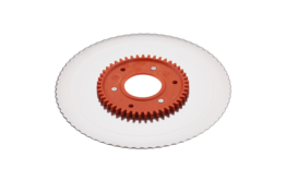 Serrated circular blade with electropolished surface and an orange gear