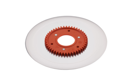 Ham- and sausage circular blade with electropolished surface and an orange gear