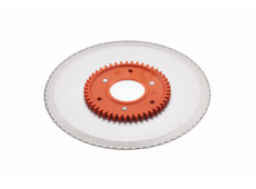 Standard serrated circular blade with an orange gear